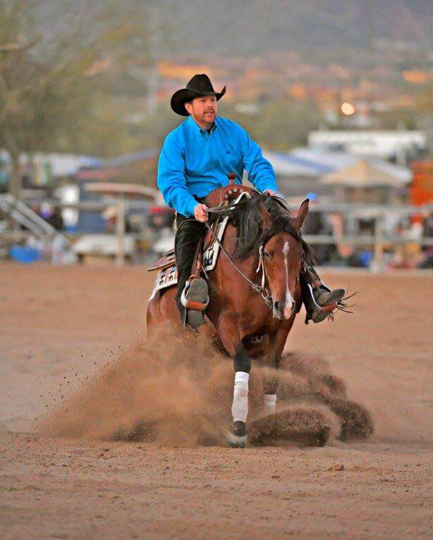 Adessa SS and Nathan Kent sliding stop and Scottsdale Arabian Horse Show
